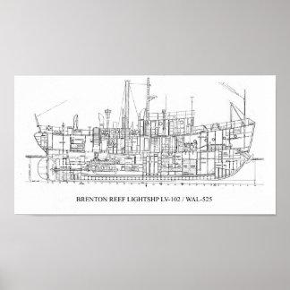 Poster del plan del buque faro LV-102/WAL-525 del