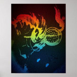 Poster del poder de Pegaso arco iris negro