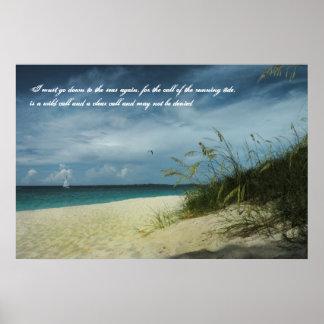 Poster del poema del navegante de la playa de Baha