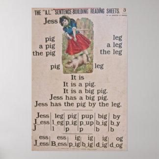 Poster del poster de la escuela del vintage