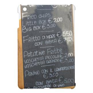 Poster del primero plano del menú en un italiano