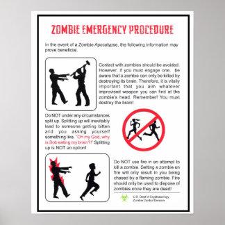 Poster del procedimiento de emergencia del zombi