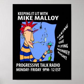 POSTER DEL PROGRAMA RADIOFÓNICO DE MIKE MALLOY PEQ