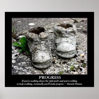 Poster del progreso de Obama de las botas del horm