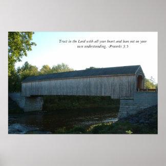 Poster del puente cubierto con verso de la biblia
