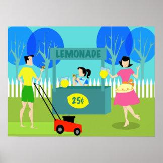 Poster del puesto de limonadas de los niños retros