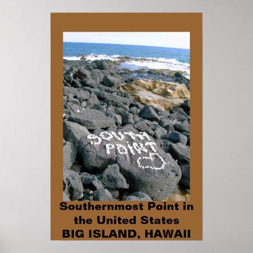 Poster del punto del sur, Hawaii