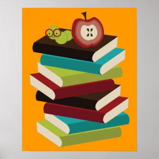 Poster del ratón de biblioteca para leer