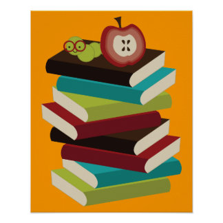 Poster del ratón de biblioteca para leer póster