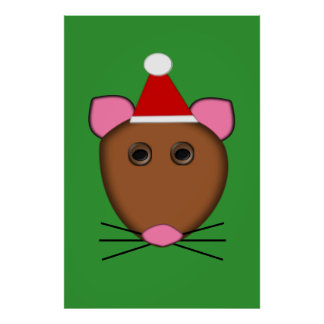 Poster del ratón de las Felices Navidad