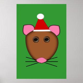Poster del ratón de las Felices Navidad Póster