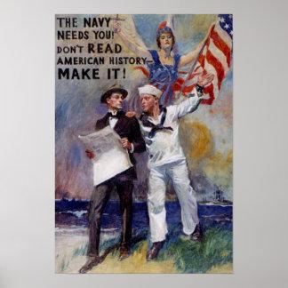 Poster del recluta de la marina de guerra del