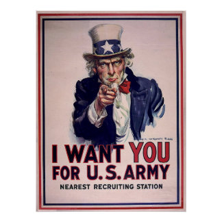 Poster del reclutamiento del tío Sam del vintage