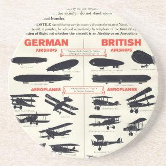 Poster del reconocimiento de los aviones WW1 Posavasos Para Bebidas