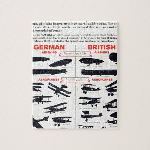 Poster del reconocimiento de los aviones WW1 Rompecabeza