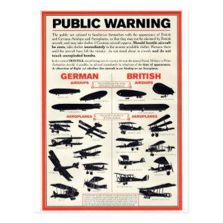 Poster del reconocimiento de los aviones WW1 Tarjetas Postales