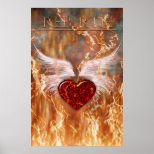 Poster del renacimiento (corazón con las alas) póster