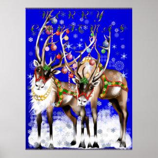 Poster del reno de las Felices Navidad