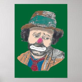 Poster del retrato de Emmett Kelley del payaso de