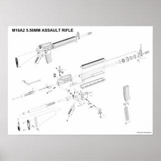 Poster del rifle de asalto de M16A2 5.56m m