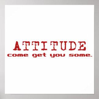 Poster del rojo de la actitud