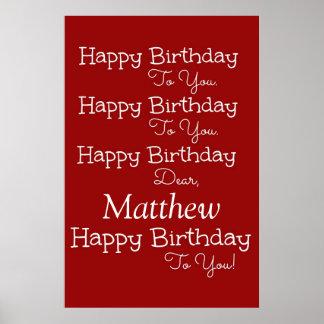 Poster del rojo de la canción del feliz cumpleaños