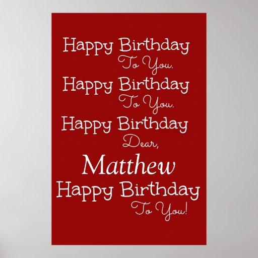 Poster del rojo de la canción del feliz cumpleaños póster