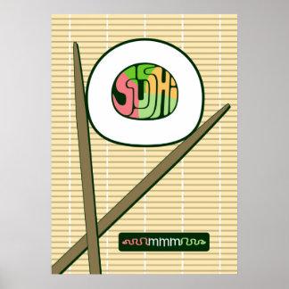 Poster del rollo de sushi mmm