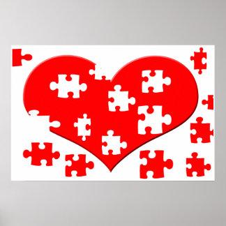 Poster del rompecabezas del corazón