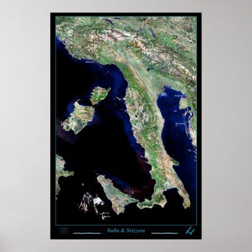 Poster del satélite de Italia y de Suiza