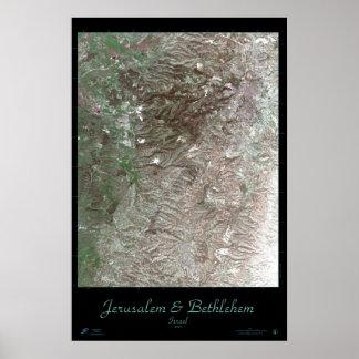 Poster del satélite de Jerusalén y de Belén Orient