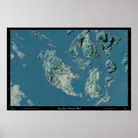 Poster del satélite de la isla de San Juan, Washin Póster