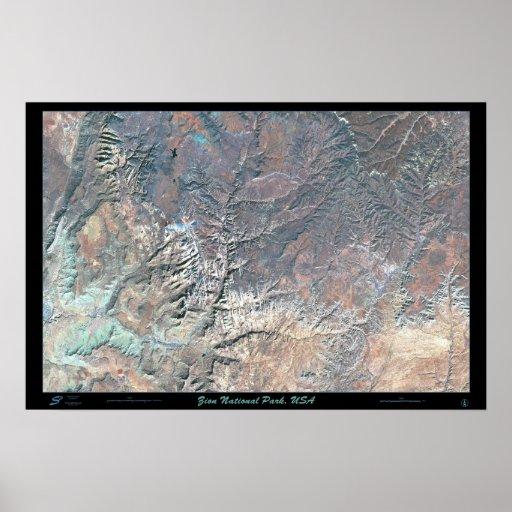 Poster del satélite del parque nacional de Zion