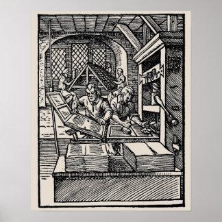 Poster del siglo XVI de la prensa de la mano de la