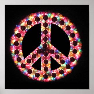 poster del signo de la paz de 5 colores