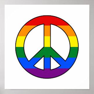 Poster del signo de la paz de la bandera de LGBT