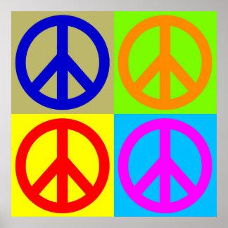 Poster del signo de la paz del arte pop de cuatro