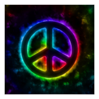 Poster del signo de la paz del resplandor del arco
