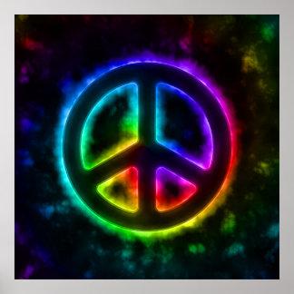 Poster del signo de la paz del resplandor del arco póster