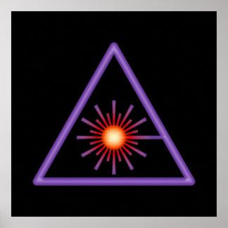 Poster del símbolo amonestador de laser