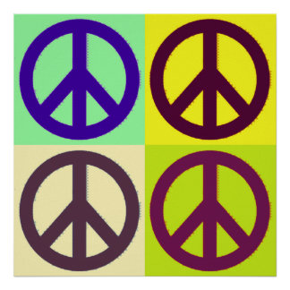 Poster del símbolo del signo de la paz del arte