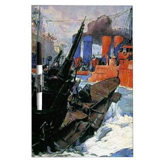 Poster del submarino de la nave del mar de la guer pizarras blancas de calidad
