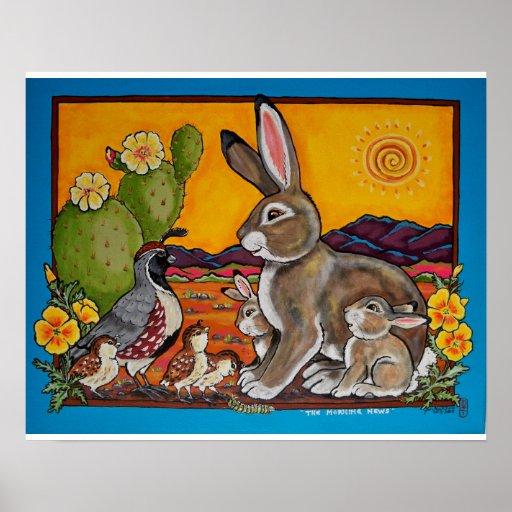 Poster del sudoeste de las familias del conejo y