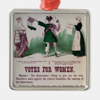 Poster del sufragio de las mujeres adorno navideño cuadrado de metal