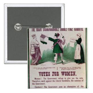 Poster del sufragio de las mujeres pin cuadrado