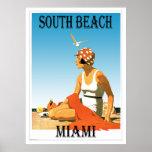 Poster del sur de la playa del vintage de Miami de Póster