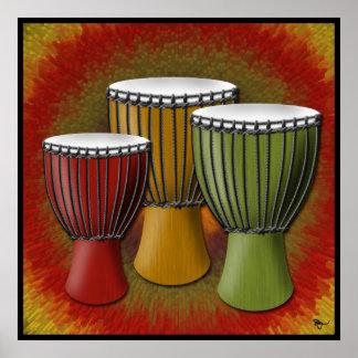 Poster del tambor de Djembe del africano