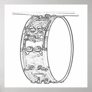 Poster del tambor o del batería póster