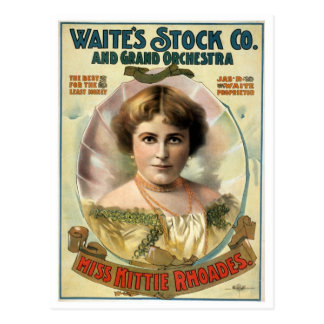 Poster del teatro del vintage de Kittie Rhoades Postal