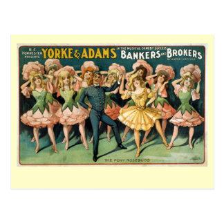 Poster del teatro del vintage de los banqueros y postal